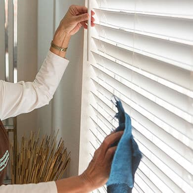 caretaker cleaning patient home