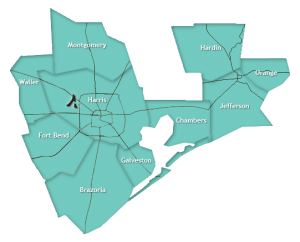 Brazoria, Chambers, Fort Bend, Galveston, Hardin, Harris, Jefferson, Montgomery, Orange, Waller